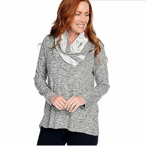 One World Lace Wrap Cowl Neck Top Gray&White